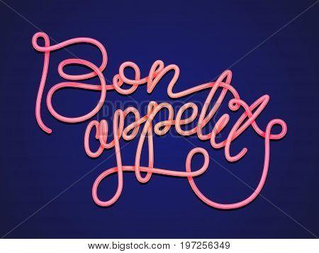 Hand inscription lettering noodles. Design character Bon appetit.