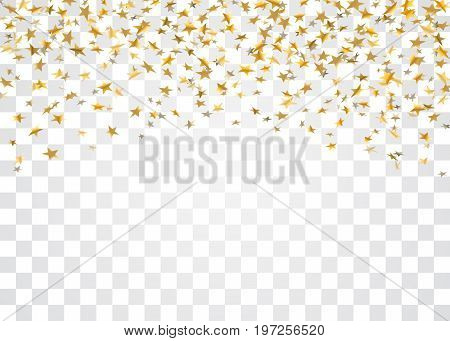 Gold stars falling confetti isolated on white transparent background. Golden abstract confetti. Decoration sparkle explosion festive celebration party. Holiday stars rain Vector illustration