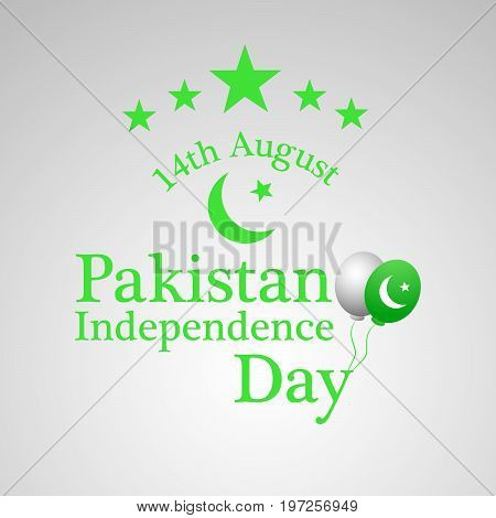 illustration of star and moon with 14th August Pakistan independence day text on the occasion of  Pakistan Independence day background