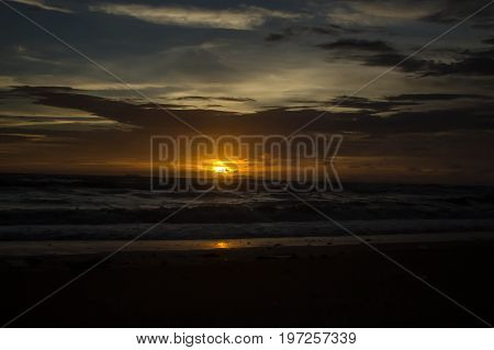 Sunset on the shores of the Andaman Sea, Koh Lanta, Thailand
