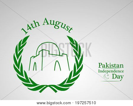 illustration of 14th August Pakistan Independence day text on the occasion of Pakistan Independence day