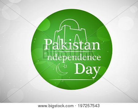 illustration of button with Pakistan Independence day text on the occasion of Pakistan Independence day