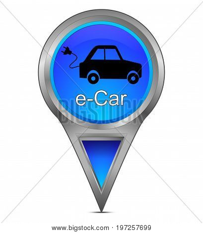 glossy blue Map pointer with e-Car - 3d illustration