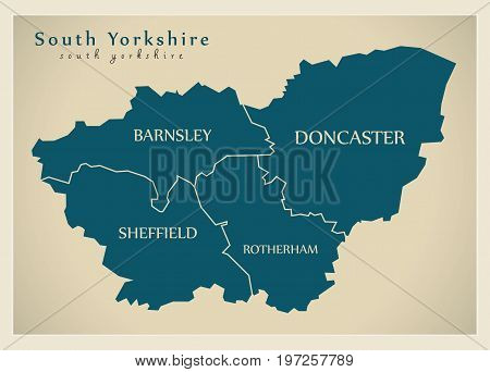 Modern Map - South Yorkshire Metropolitan County With District Captions England Uk Illustration