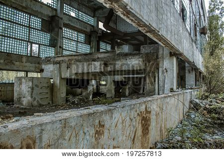 The abandoned, broken old building of an abandoned factory in the Republic of Karelia, Sortavala, Russia
