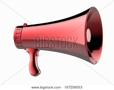 3d rendering red megaphone isolated on white