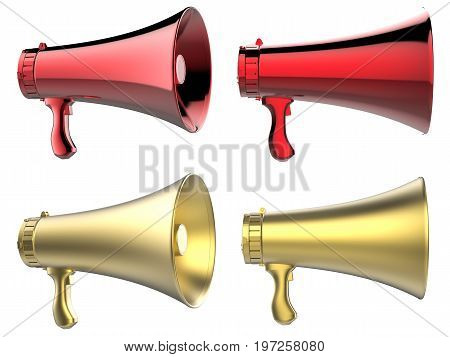 3d rendering gold and red megaphone isolated on white