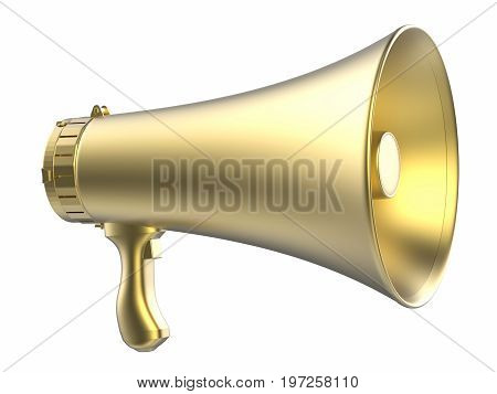 3d rendering gold megaphone isolated on white