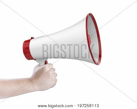 hand holding 3d rendering white megaphone isolated on white