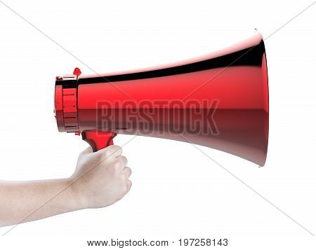 hand holding 3d rendering red megaphone isolated on white
