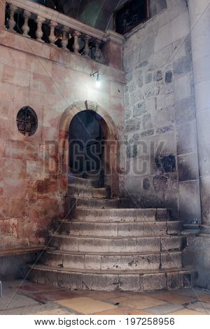 Jerusalem Israel July 14 2017 : Fragment of the interior of the Church of the Holy Sepulchre in Jerusalem Israel. Steps to Golgotha.