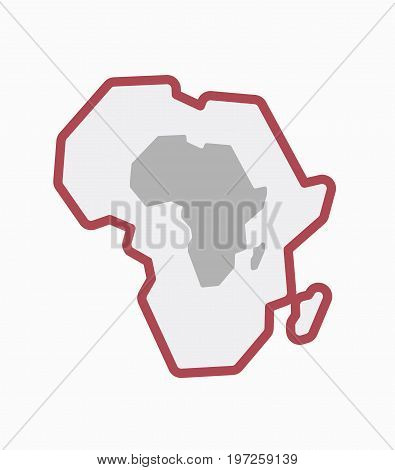 Isolated Africa Map With  A Map Of The African Continent