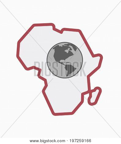 Isolated Africa Map With An America Region World Globe
