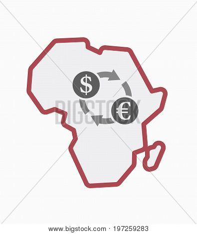 Isolated Africa Map With A Dollar Euro Exchange Sign