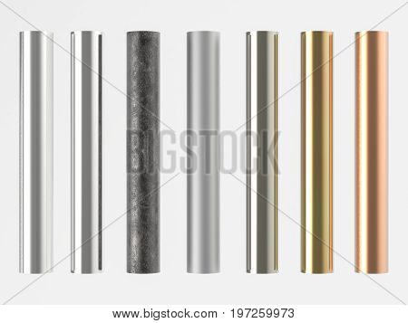 Seven Shades Of Metal Pipes Isolated On White