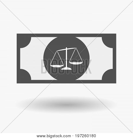 Isolated Bank Note With  An Unbalanced Weight Scale