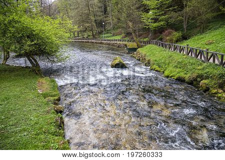 Bosna River Flow In Nature Park Vrelo Bosne