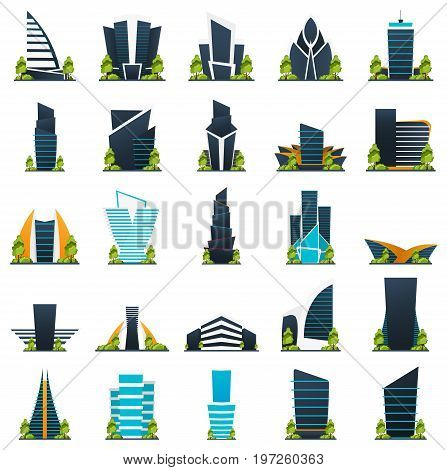 Set Of Flat Style Modern City Houses. Building Of Future. Architecture Of The Future.