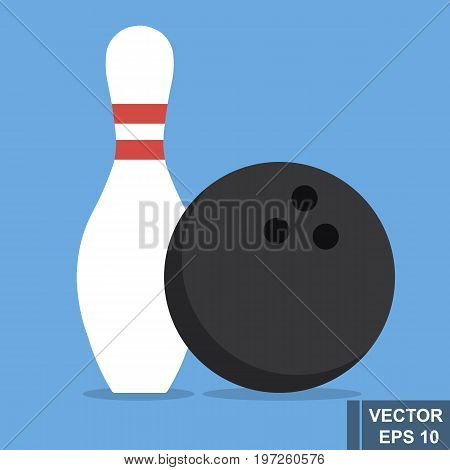 Bowling. A Pin And A Ball. The Icon. Isolated On Blue Background. For Your Design.