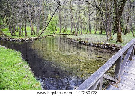 Bosna River In Ilidza At Nature Park Vrelo Bosne
