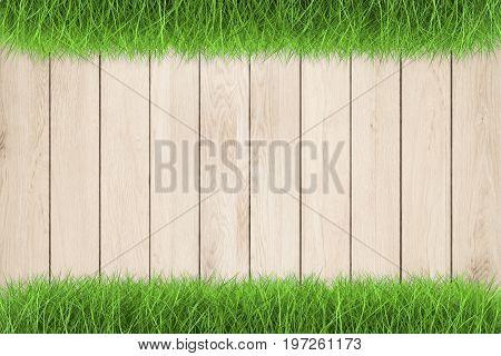 3d rendering wooden footpath on green grass