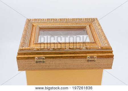 Gomel, Belarus - 28 July 2017: Transparent Light Urn For Donations From Plexiglass And Plastic Bague