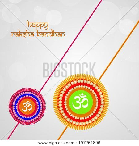 illustration of rakhi with happy raksha bandhan text on the occasion of hindu festival Raksha Bandhan
