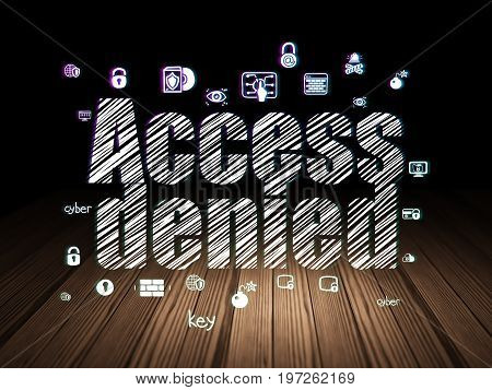 Privacy concept: Glowing text Access Denied,  Hand Drawn Security Icons in grunge dark room with Wooden Floor, black background