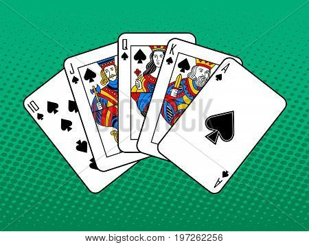 Winning combination of cards pop art style vector illustration. Comic book style imitation. Poker Royal flush
