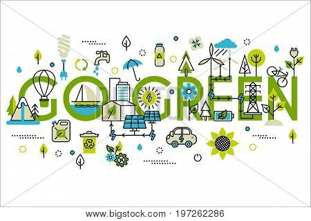 Green energy, go green, alternative fuel. For info graphics and graphic design. Colorful vector illustration in modern flat line style, ecology concept horizontal web banner