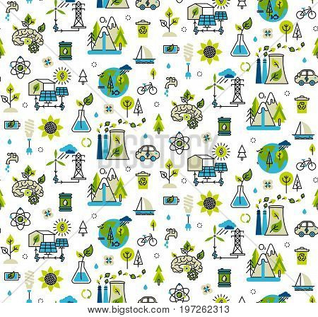 Ecology problem and alternative fuel seamless pattern in modern flat line style. Vector illustration ecology concept green energy.