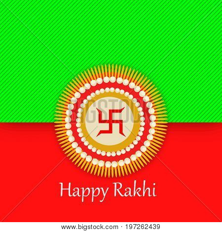 illustration of rakhi and swastik sign with happy rakhi text on the occasion of hindu festival Raksha Bandhan