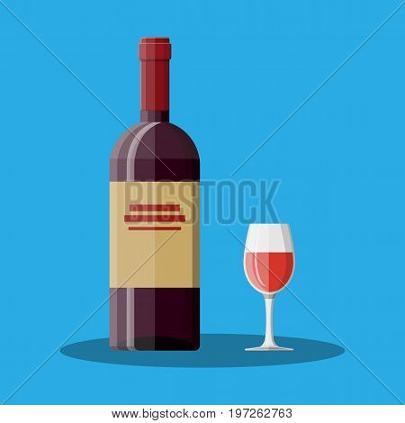 Red wine bottle and glass. Wine alcohol drink. Vector illustration in flat style