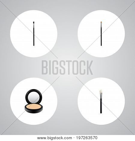 Realistic Blusher, Powder Blush, Brow Makeup Tool And Other Vector Elements
