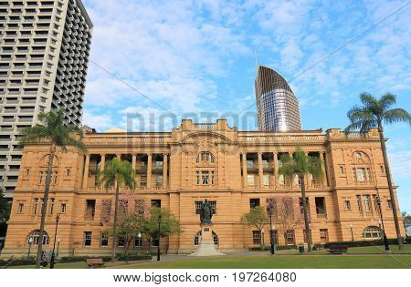 BRISBANE AUSTRALIA - JULY 9, 2017: Treasury Hotel historical architecture in Brisbane. Treasury Hotel is a heritage listed hotel built from 1887 to 1888.