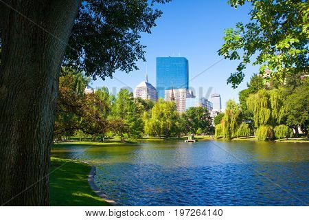Boston Massachusetts USA - July 22016: The Public Garden in Boston founded 1837.Also known as Boston Public Garden is a large park located in the heart of Boston Massachusetts adjacent to Boston Common.