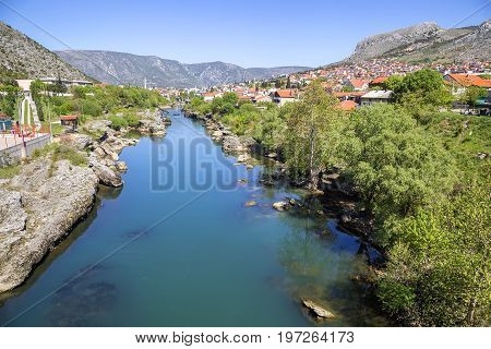 Neretva River Viewed From The Bridge In Mostar