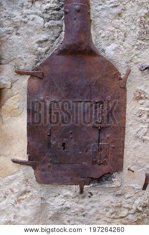 Remnants of the first street lighting in Belves France