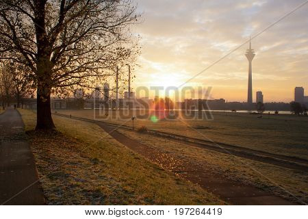 Sunrise over the skyline of Dusseldorf in the morning