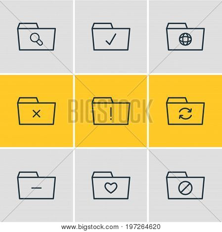 Editable Pack Of Dossier, Magnifier, Liked And Other Elements.  Vector Illustration Of 9 Dossier Icons.