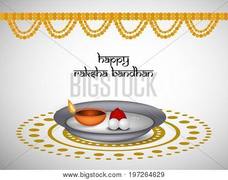 illustration of decoration with happy Raksha Bandhan text on the occasion of hindu festival raksha bandhan