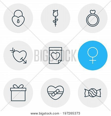 Editable Pack Of Present, Engagement, Gift And Other Elements.  Vector Illustration Of 9 Amour Icons.