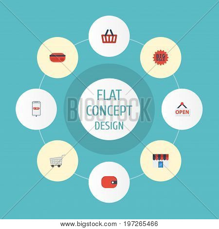 Flat Icons Purse, Purchase, Payment And Other Vector Elements