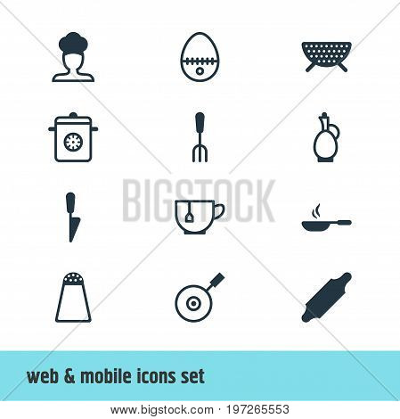 Editable Pack Of Sieve, Pepper Container, Bakery Roller And Other Elements.  Vector Illustration Of 12 Cooking Icons.