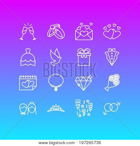 Editable Pack Of Card, Bridegroom Dress, Pigeon And Other Elements.  Vector Illustration Of 16 Marriage Icons.