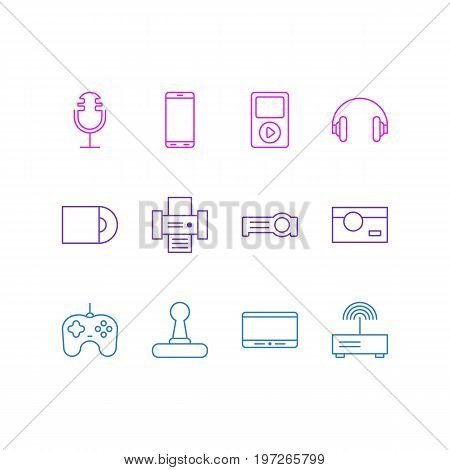 Editable Pack Of Modem, Smartphone, Photography And Other Elements.  Vector Illustration Of 12 Technology Icons.