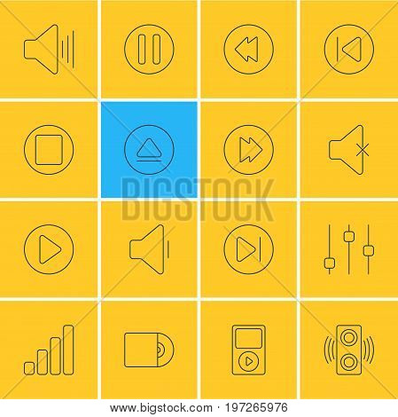 Editable Pack Of Advanced, Acoustic, Compact Disk And Other Elements.  Vector Illustration Of 16 Music Icons.