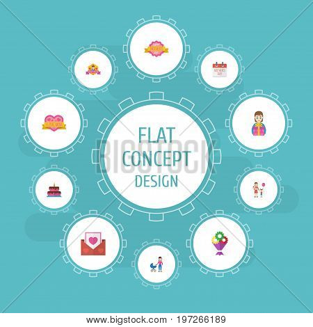Happy Mother's Day Flat Icon Layout Design With Special Day, Woman And Pastry Symbols