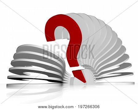 Illustration in 3d - fan of question marks. One question mark stands out because it is red. Isolated on a white background