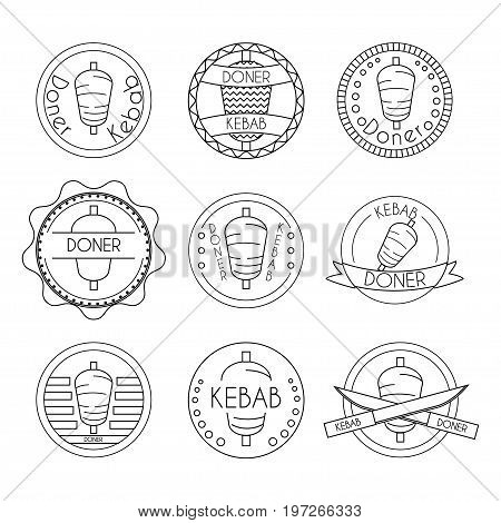 Doner kebab badge set. Stock vector illustration of turkish fast food for restaurant logo and promo design in black outline on white background.
